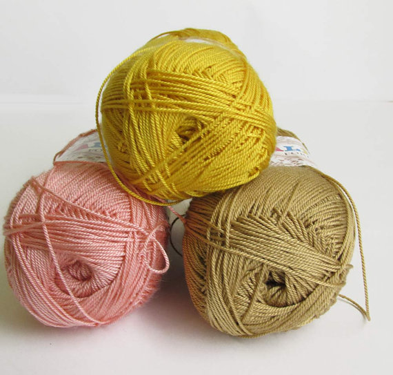 Acrylic yarn, pastel mix, lace weight, microfibra, 3 skeins (E50011)