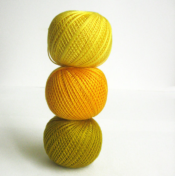 Cotton crochet thread, yellow mix, 25 g per ball, 3 pc. (E50015)