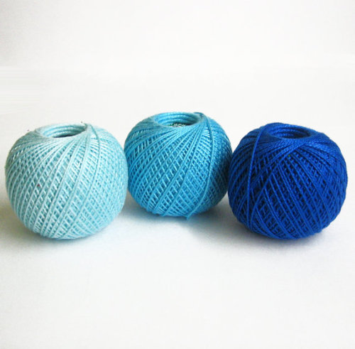 Cotton crochet thread, blue mix, 25 g per ball, 3 pc. (E50015)