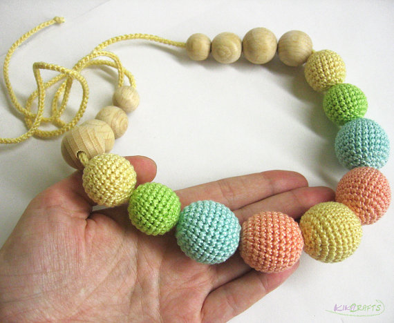 Nursing necklace - crochet beads and wood teething sling necklace in pastel