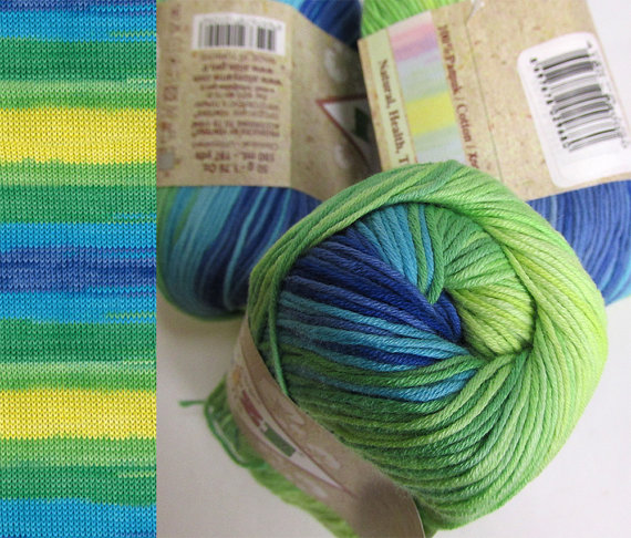 Cotton yarn, 3 skeins, soft, classical unbrushed, batic, green bue yellow (