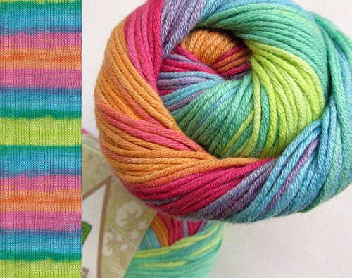 Pure cotton yarn, 3 skeins, colorful batic (E50018)