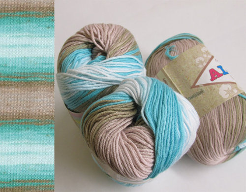 Pure cotton yarn, 3 skeins, batic blue and sand (E50020)
