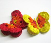 Butterfly Appliques, 3 inches, crocheted, colorful, 2pc. (A10099)