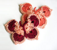 Butterfly Appliques in peach pink and red, 3 inches, 2pc. (A10101)