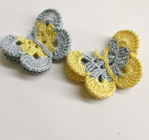 Butterfly Appliques, 3 inches, baby blue and yellow, crocheted, 2pc. (A1009