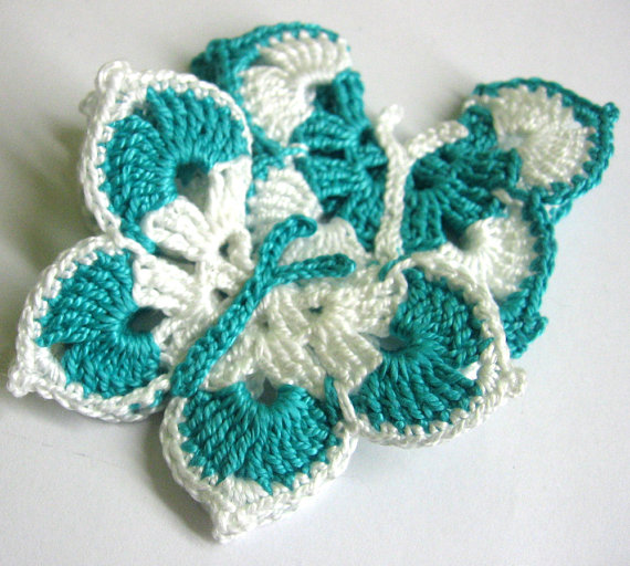 Crocheted Butterfly Appliques, 3 inches (7,5 cm), white and emerald, 2pc.