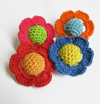 Crocheted beads - flowers, 20 mm handmade round balls cotton on wood, sweet candy mix, 4 pc.