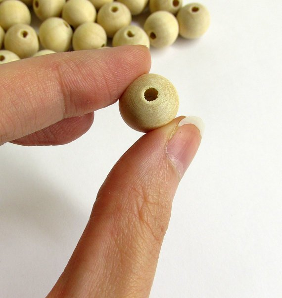 Wood beads 13 mm, unfinished, natural, round, 50 pc. (C30010)