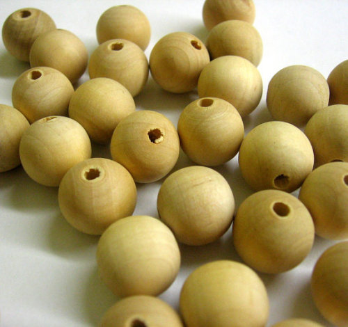 Wooden beads 18 mm, round unfinished, 50 pc. (C30011)