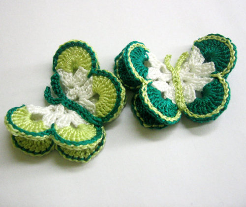 Butterfly Appliques, jade and apple green, 7,5 cm, 2pc. (A10107)