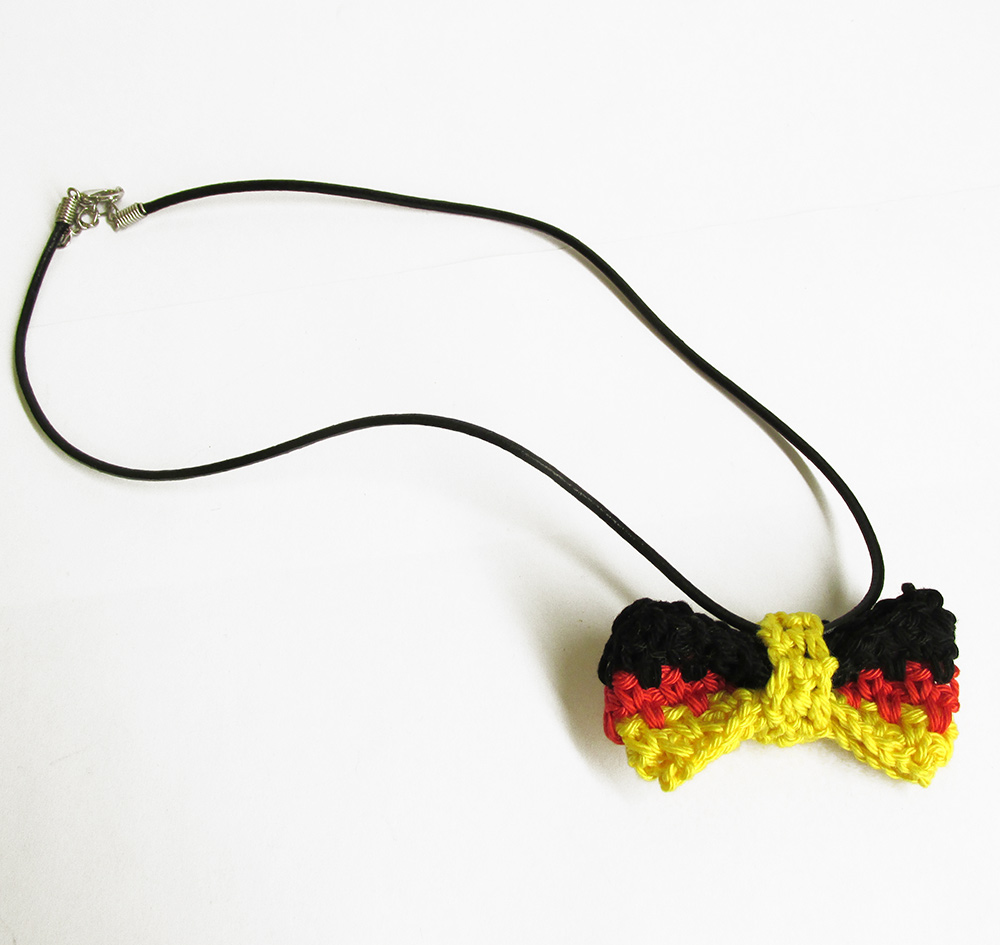 Black, red, yellow stripes bow tie necklace, 1 pc. (H80015)