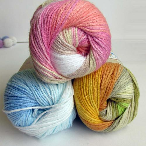 Cotton yarn, colorful mix, 3 skeins (E50022)