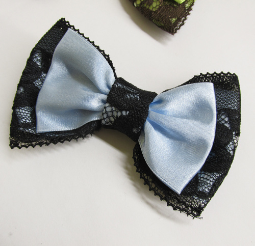 Ribbon and lace bow, baby blue and black, 1pc. (K100001)