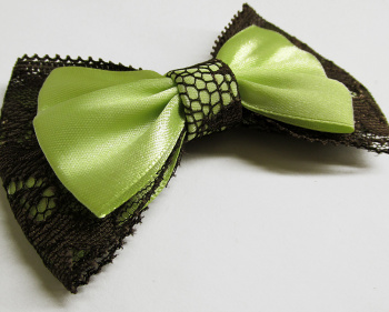 Ribbon and lace bow, light apple green and brown, 1pc. (K100002)