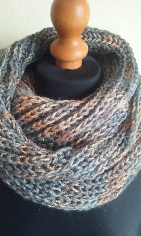 Infinity scarf in gray, beige and rust (BW001)