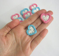 Crocheted hearts 2 colours