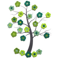 Tiny crochet flower appliques 0.8 inches, green mix, 24pc. (A10123)