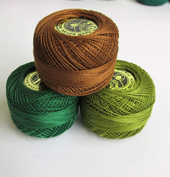 Cotton thread Perle 12, pearl cotton, embroidery thread, 3 pc. (E50025)