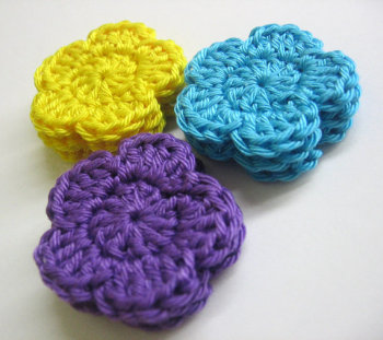 Crocheted flower applique,1,2 inches in purple, blue, yellow, 9 pc. (A10126)