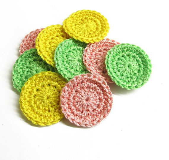 Circle appliques, 4 cm, light pastel mix., 9 pc. (A10132)