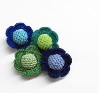 Crocheted beads - flowers, 20 mm handmade round balls cotton on wood, green blue mix, 4 pc. (B20073)