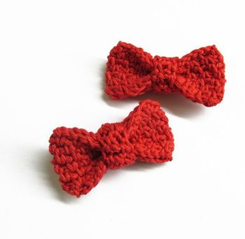 Large crochet bow appliques,red, 2 pc. (A10135)