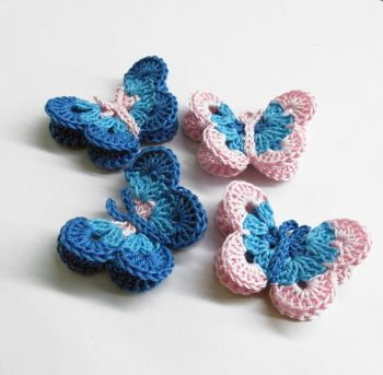 "Butterfly Appliques, 2"" wide, blue pink mix, 4 pc. (A10136)"