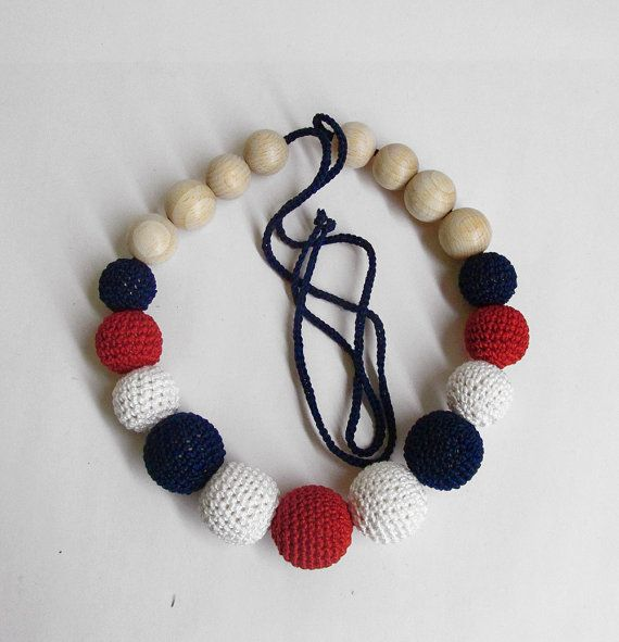 Nursing necklace in white, red and midnight blue, 1 pc. (H80016)