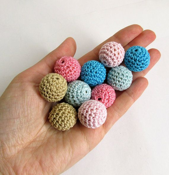 Crocheted beads, 20 mm, pink, blue, sand mix (B20073)