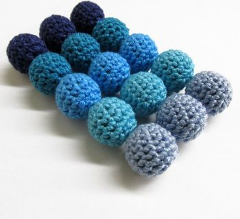 Blue Crocheted beads, 15 pc. (B20074)