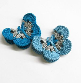 Butterfly Appliques, gray and blue, 7,5 cm, 2pc. (A10140)