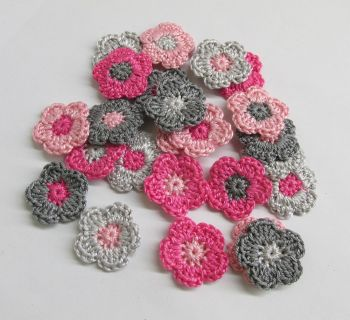Tiny crochet flower appliques 1 inche, pink and gray mix, 24 pc. (A10147)