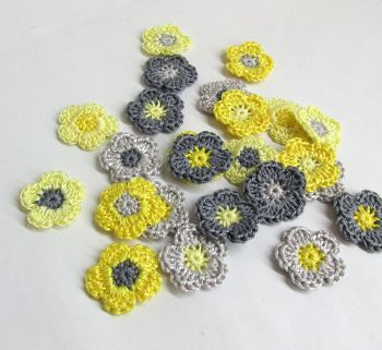 Tiny crochet flower appliques 1 inch, gray yellow mix, 24 pc. (A10149)