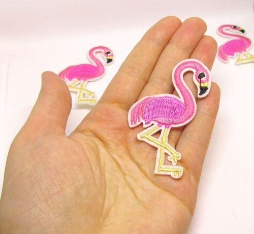 Iron on patch - pink flamingo, 1 pc. (P00001)