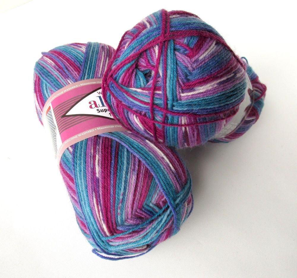 Sock yarn, Alize Superwash 100, purple, pink and blue mix