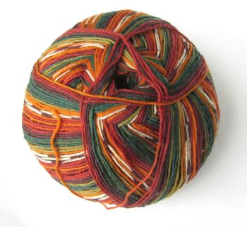 Sock yarn, Alize Superwash 100, brown, green, orange mix