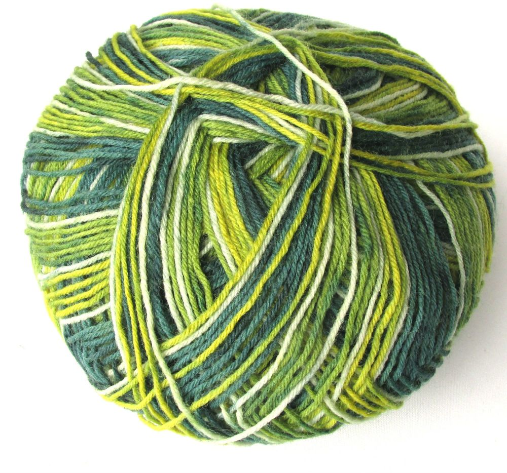 Sock yarn, Alize Superwash 100, green mix