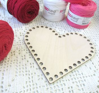 Wooden base for crocheted baskets HEART