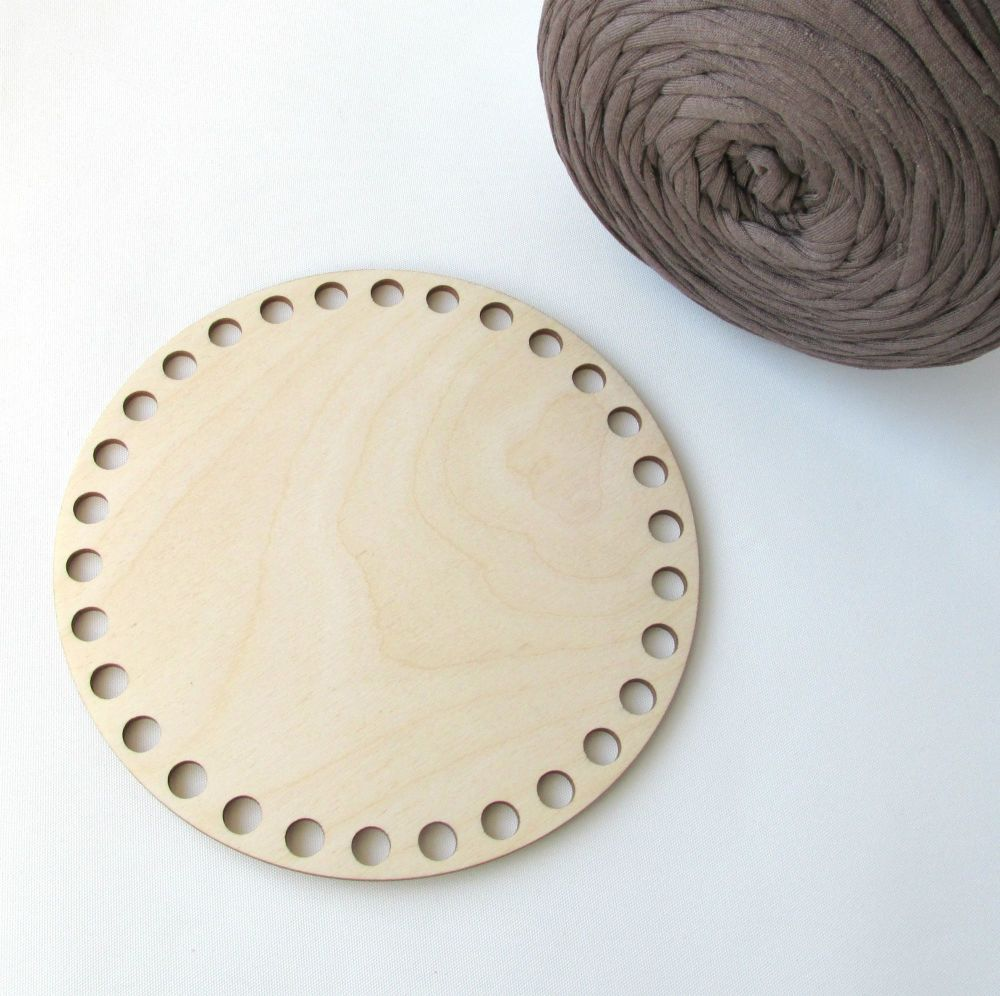 Wooden base for crocheted baskets ROUND (small)