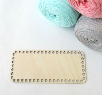 Wooden base for crocheted baskets RECTANGULAR (small)