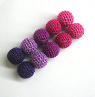 Crocheted beads, pink and purple mix (B20017)