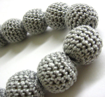 Crocheted beads, 20mm, light gray, 10pc. (B20018)