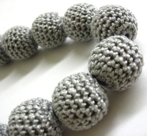 Crocheted beads, 20mm, light gray, 5pc.