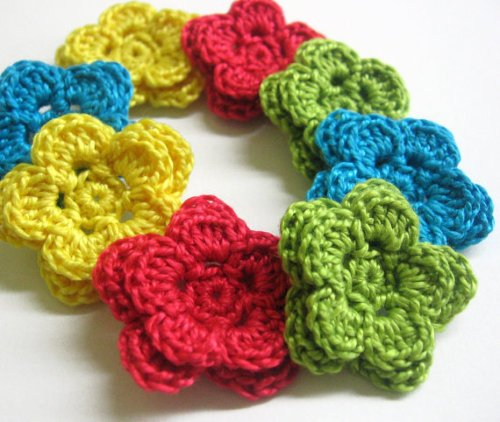 Crocheted 2-layer flowers - colourful mix