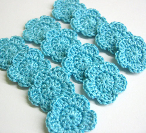 Crocheted 1 inch flowers, 12 pc.- light turquoise blue