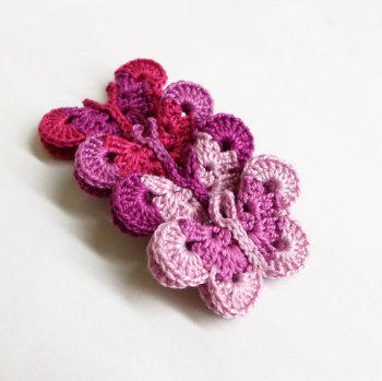 "Crocheted butterflies, 1 1/2"", set of 4, pink and purple mix (A10011)"