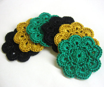 Crocheted Flower Appliques Motifs in black, golden and jade 6 pc, 2 inches