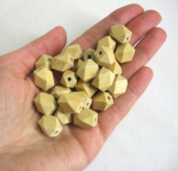 Unfinished faceted small wood beads, 13mm x 10mm, set of 25 (C30001)
