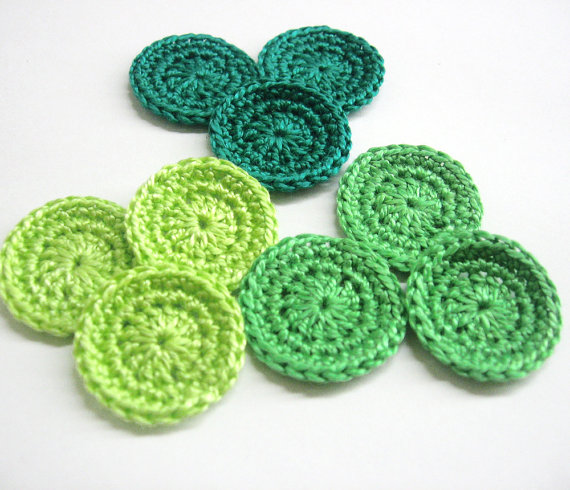 1 inch circle appliques in green shades, set of 12